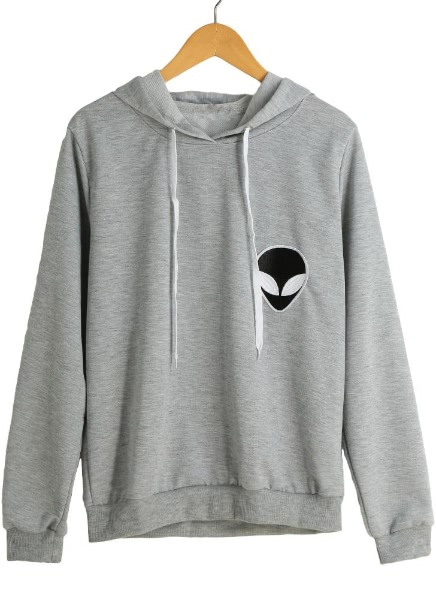 Buy Alien Embroidery Drawstring Long Sleeve Hoodie