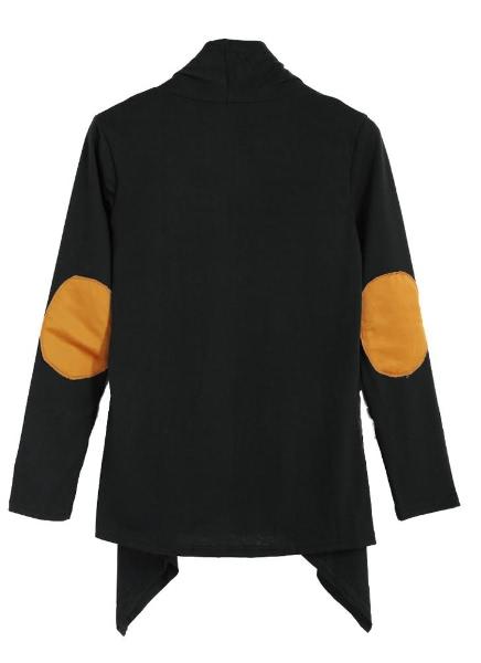 Buy Open Front Drape Irregular Hem Contrast Elobw Long Sleeve Cardigan