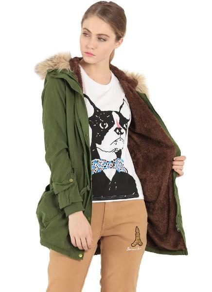 Buy Faux Fur Zipper Button Drawstring Large Pocket Long Hooded Parka