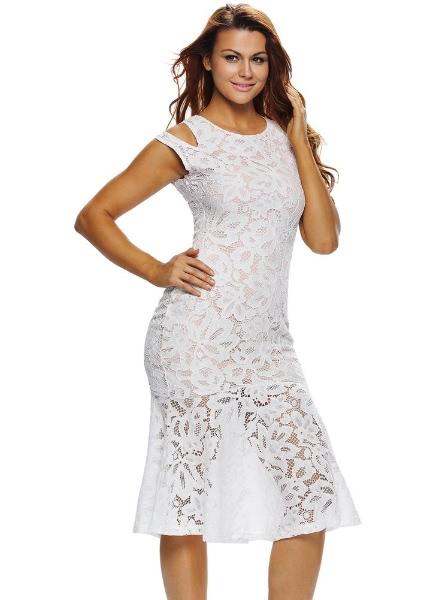 Buy Lace Hollow Sheer Splicing Hem White Midi Mermaid Dress