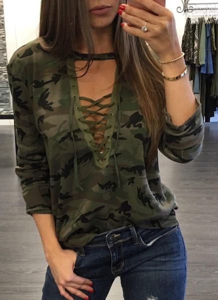 Buy Camouflage Cross Lace Deep V Neck Long Sleeve T-Shirt