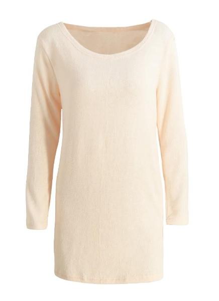 Buy Casual Side Zip Split Hem Long Sleeve Solid Color Mini Sweater Dress