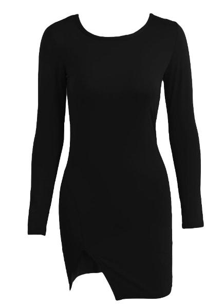 Buy Bodycon Split Hem Round Neck Long Sleeve Solid Color Mini Dress