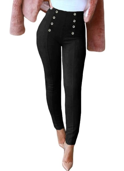 Buy Elegant Faux Suede Solid Color Button Side Zipper Women's Leggings