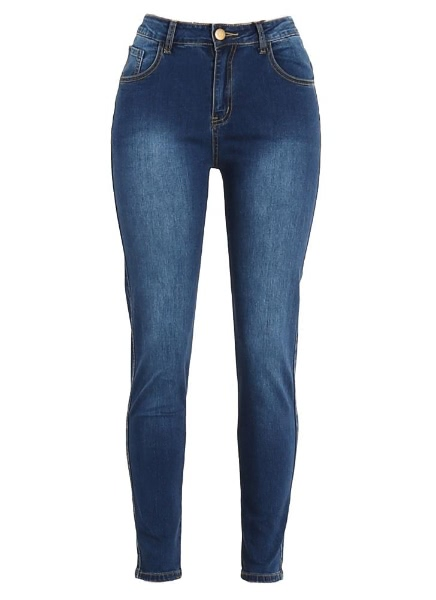 Buy Denim Zipper Pockets High Waist Elastic Skinny Plus Size Jeans
