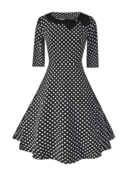 Buy Polka Dot Bow Half Sleeve Round Neck Zipper High Waist Line Dress