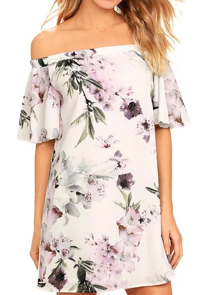Buy Floral Print Shoulder Slash Neck Ruffle Sleeve Women's One-Piece Dress