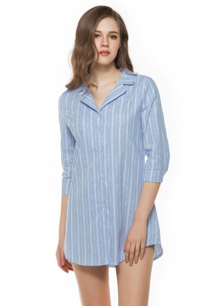 Buy Fashion Striped Button Front Turn Collar 3/4 Sleeve Women's Blouse