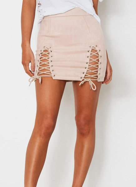 Buy Lace Suede Mini Skirt