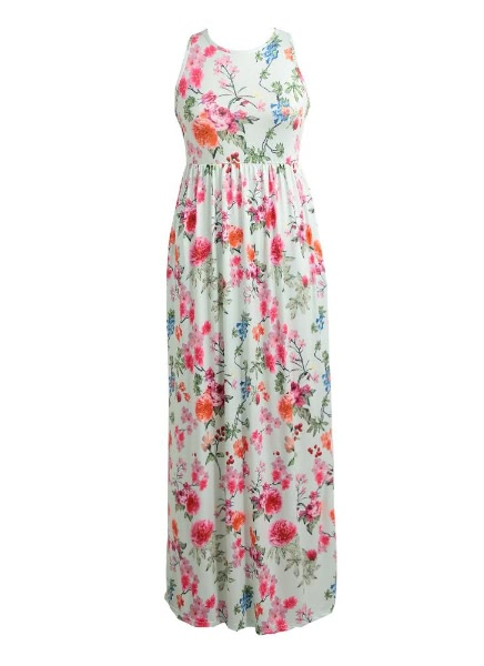 Buy Sexy Floral Print Sleeveless Racerback Tunic Maxi Beach Women's Long Dress
