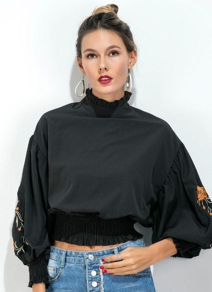 Buy Vintage Women Smocked Blouse Floral Embroidery High Neck Drop Shoulder Puff Sleeve Elegant Tops