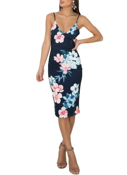 Buy Sexy Floral Print Deep V Neck Spaghetti Strap Backless Women's Bodycon Dress