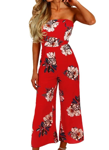 Buy Sexy Shoulder Sleeveless Floral High Waist Flared Women's Rompers