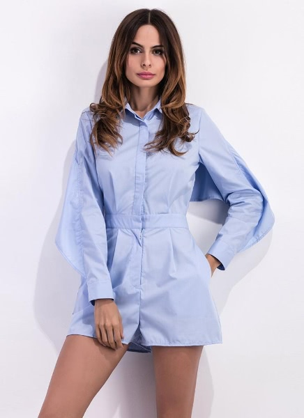 Buy Sexy Women Backless Turn Collar Long Sleeve Button Women's Rompers