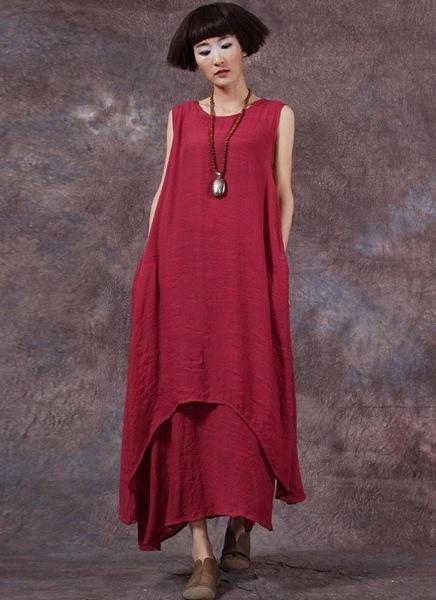 Buy Casual Retro Solid Sleeveless O-Neck Pockets Boho Women's Plus Size Dress
