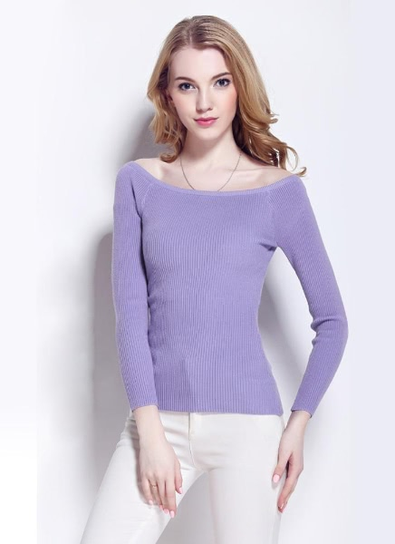 Buy Basic Sweater Slash Neck Solid Knitted Slim Long Sleeves Women's Pullover