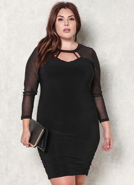 Buy Sexy Sheer Mesh Splicing Cutout Front Bodycon Women's Plus Size Dress