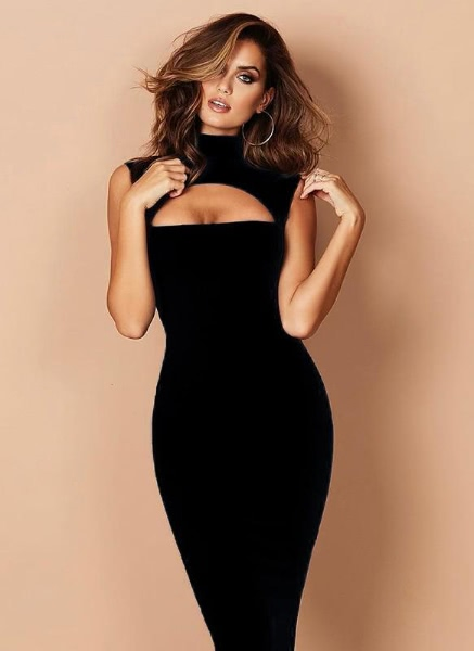 Buy Sexy Solid Cut Front High Cowl Neck Bandage Women's Bodycon Dress