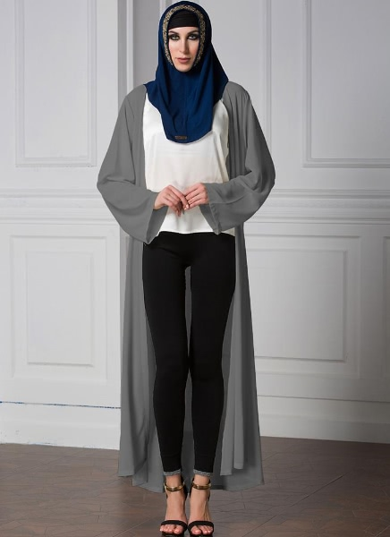 Buy Chiffon Long Sleeve Open Front Robe Belted Women's Muslim Maxi Dress