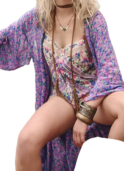 Buy Women Vintage Flower Print Chiffon Blouse Shirt Loose Kimono Cardigan Beach Cover Outerwear Purple