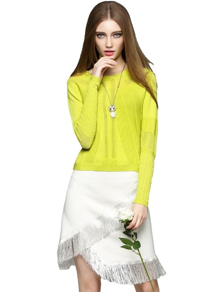 Buy Elegant Hollow Ribbed Trims Round Neck Long Lantern Sleeve Short Sweater