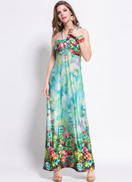 Buy Fashion Women Summer Long Dress Floral Print Halter Neck Backless Beach Pink/Green