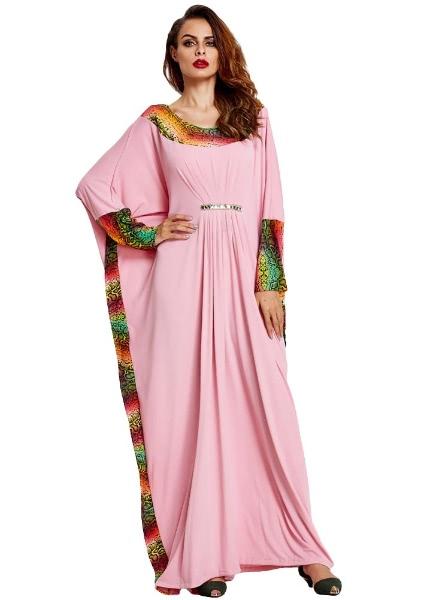 Buy Snakeskin Print Batwing Sleeve Belt Abaya Robe Kaftan Dubai Long Dress