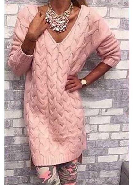 Buy V Neck Split High Low Hem Long Sleeve Twist Loose Sweater Dress