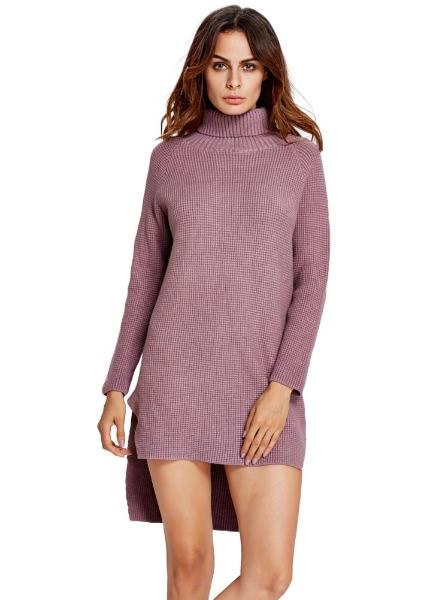 Buy Roll Neck Split Asymmetrical Hem Raglan Knitted Dress Long Sweater
