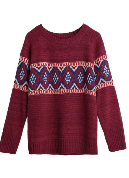 Buy Geometric Thick Knitting Sweater