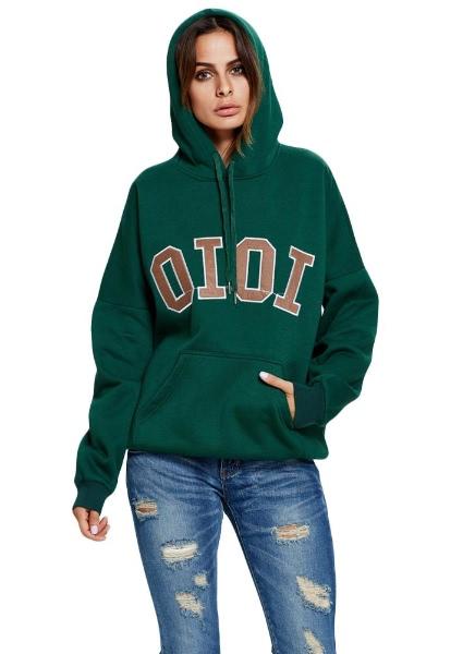 Buy Letter Print Drawstring Pocket Long Sleeve Sweatshirt Hoodies Pullover