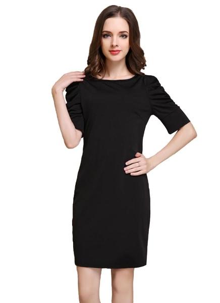 Buy Mini Dress O-Neck Half Puff Sleeves Bodycon OL Elegant Black
