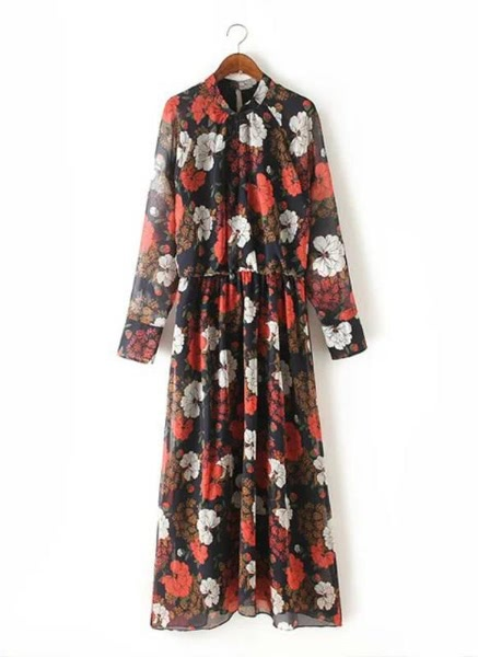 Buy Vintage Chiffon Dress Floral Print Long Sleeve Pleated Slim Maxi