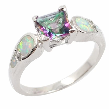 Fashion 925 Sterling Silver Shining CZ Diamond Simulated Opal Ring