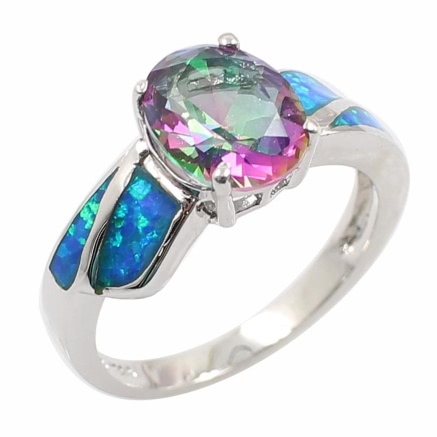 Fashion Shining CZ Diamond Simulated Opal 925 Sterling Silver Ring