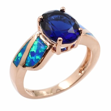 Buy Fashion CZ Diamond Simulated Opal 925 Sterling Silver Ring