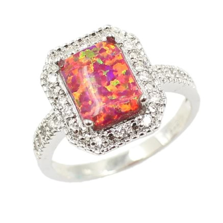 Buy 925 Sterling Silver Fashion CZ Diamond Square Cubic Simulated Opal Ring