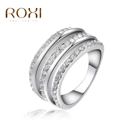 ROXI Classic Fashion Austrian Crystal Ring White Gold Plated