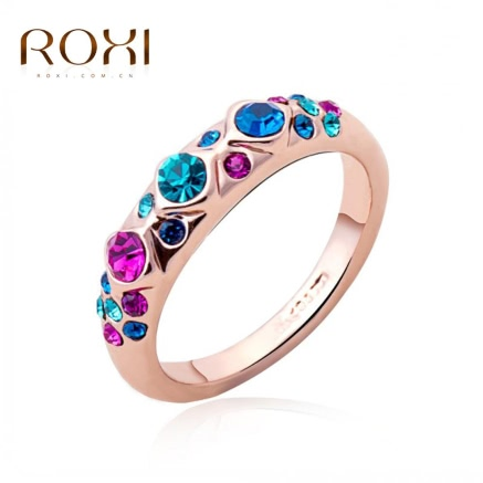ROXI Colorful Austrian Crystal Bling Rose Gold Ring
