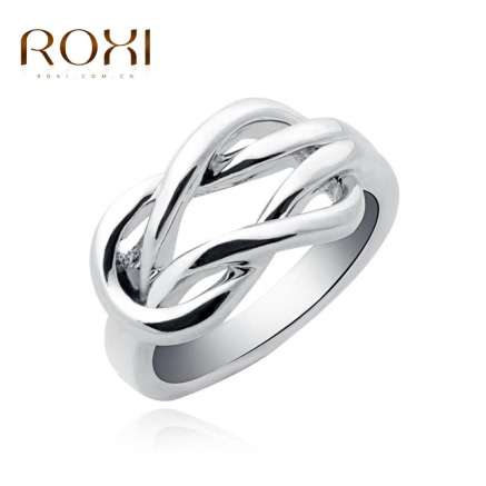 ROXI Unique Fashion White Gold Plated Intersection Buckle Smooth Ring