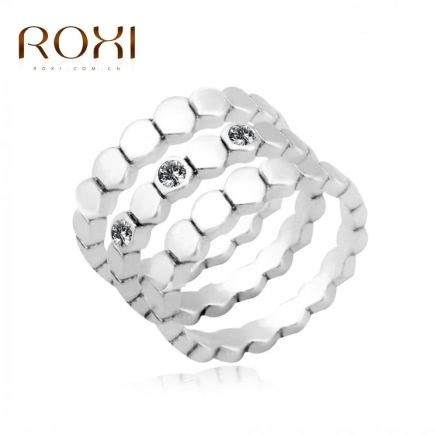 ROXI Fashion Silver Plated Austrian Crystal Stackable Band Ring