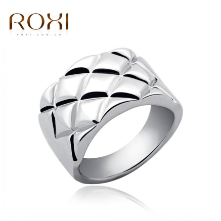 ROXI White Gold Plated Rhombus Wide Ring
