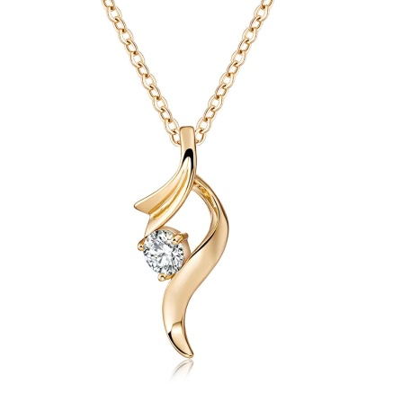 Fashion Natural Gold Plated Necklace Crystal Pendant Chain