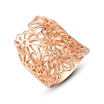 Roxi New Hot Fashion Jewelry Gold Plated Hollow Flower Ring