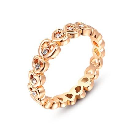 Roxi Fashion Zircon Crystal Rhinestone Gold Plated Heart Designed Ring