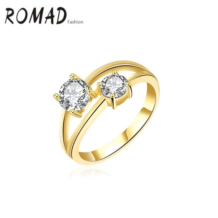 ROMAD Metal Copper Gold Plated Zircon Rhinestone Crystal Ring