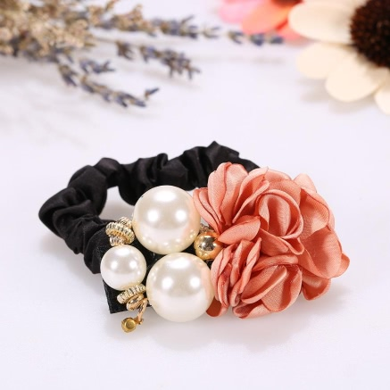 Buy Aritificial Pearl Bead High Elastic Flower Rhinestone Ponytail Holder Hair Band