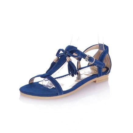 Fashion Fringe Bow T-Strap Suede Flat Heel Tassel Sandals