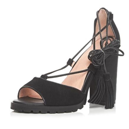 Stylish Genuine Leather Pep Toe Tassel Ankle Lace Black High Heel Sandals