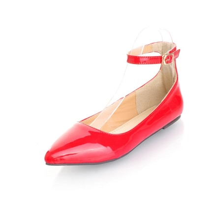 Cute Pointed Toe Pin Buckle Candy Solid Color Flats